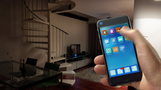 Smart Home - smart house, home automation, device with app icons. Man uses his smart phone with smarthome security app to turn on the lights of his house. (Shot on RED) : Stock Photo or Stock Video Download rcfotostock photos, images and assets rcfotostock | RC-Photo-Stock.: