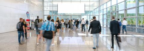 blurred business people at a trade fair, banner size, including Copy space- Stock Photo or Stock Video of rcfotostock | RC-Photo-Stock