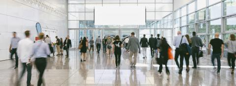 large Crowd of anonymous business people walking, with copy space banner- Stock Photo or Stock Video of rcfotostock | RC-Photo-Stock