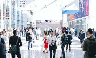 crowd of trade fair visitors walking in a clean futuristic corridor- Stock Photo or Stock Video of rcfotostock | RC-Photo-Stock