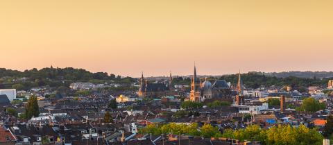 aachen with town hall and cathedral (Dom) at sunset- Stock Photo or Stock Video of rcfotostock | RC-Photo-Stock