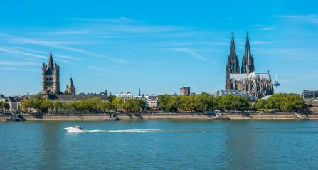Cologne cathedral and the rhine river at summer- Stock Photo or Stock Video of rcfotostock | RC-Photo-Stock
