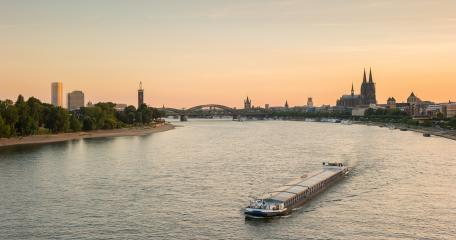 Cologne with Cologne Cathedral and Rhine river during sunset in Cologne- Stock Photo or Stock Video of rcfotostock | RC-Photo-Stock