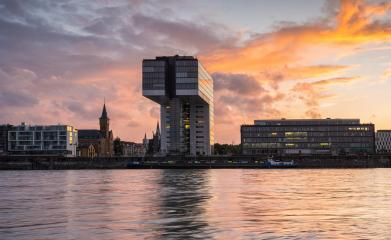 crane house at cologne with dramtic sky at sunset, germany- Stock Photo or Stock Video of rcfotostock | RC-Photo-Stock