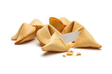 fortune cookies with note and crumbs- Stock Photo or Stock Video of rcfotostock | RC-Photo-Stock