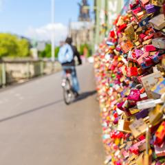 Hohenzollern Bridge with padlocks in cologne- Stock Photo or Stock Video of rcfotostock | RC-Photo-Stock