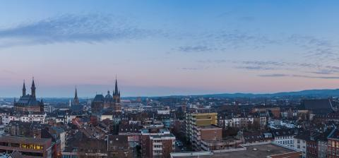 skyline panorama of Aachen city at sunset - Stock Photo or Stock Video of rcfotostock | RC-Photo-Stock