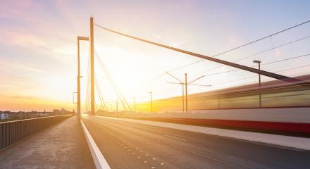 Theodor Heuss bridge at sunset with traffic train : Stock Photo or Stock Video Download rcfotostock photos, images and assets rcfotostock | RC-Photo-Stock.: