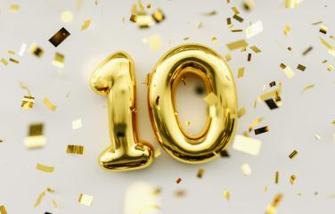 10 years old. Gold balloons number 10th anniversary, happy birth- Stock Photo or Stock Video of rcfotostock | RC-Photo-Stock