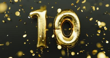 10 years old. Gold balloons number 10th anniversary, happy birthday congratulations, with falling confetti- Stock Photo or Stock Video of rcfotostock | RC-Photo-Stock