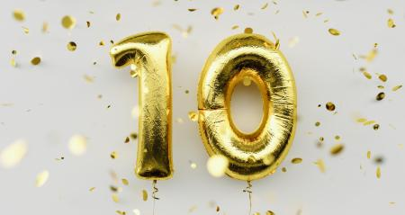 10 years old. Gold balloons number 10th anniversary, happy birthday congratulations, with falling confetti on white background : Stock Photo or Stock Video Download rcfotostock photos, images and assets rcfotostock | RC-Photo-Stock.: