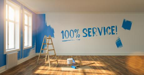 100% service written on wall with blue paint during renovation, with ladder and paint bucket   : Stock Photo or Stock Video Download rcfotostock photos, images and assets rcfotostock | RC-Photo-Stock.: