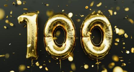 100 years old. Gold balloons number 100th anniversary, happy birthday congratulations, with falling confetti- Stock Photo or Stock Video of rcfotostock | RC-Photo-Stock