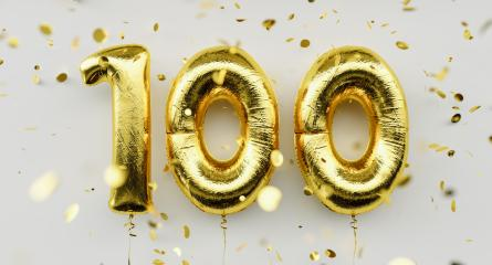 100 years old. Gold balloons number 100th anniversary, happy birthday congratulations, with falling confetti on white background- Stock Photo or Stock Video of rcfotostock | RC-Photo-Stock
