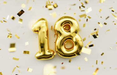 18 years old. Gold balloons number 18th anniversary, happy birth- Stock Photo or Stock Video of rcfotostock | RC-Photo-Stock