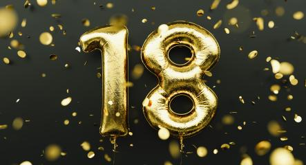 18 years old. Gold balloons number 18th anniversary, happy birthday congratulations, with falling confetti- Stock Photo or Stock Video of rcfotostock | RC-Photo-Stock