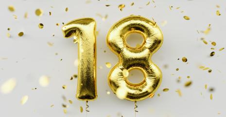 18 years old. Gold balloons number 18th anniversary, happy birthday congratulations, with falling confetti on white background : Stock Photo or Stock Video Download rcfotostock photos, images and assets rcfotostock | RC-Photo-Stock.: