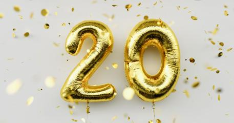 20 years old. Gold balloons number 20th anniversary, happy birthday congratulations, with falling confetti on white background- Stock Photo or Stock Video of rcfotostock | RC-Photo-Stock