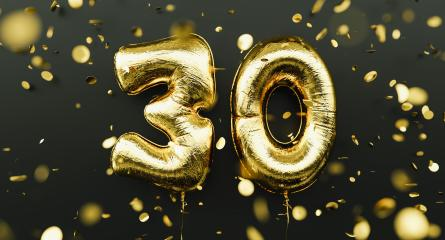 30 years old. Gold balloons number 30th anniversary, happy birthday congratulations, with falling confetti- Stock Photo or Stock Video of rcfotostock | RC-Photo-Stock