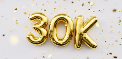30k followers celebration. Social media achievement poster. 30k followers thank you lettering. Golden sparkling confetti ribbons. Gratitude text on white background.- Stock Photo or Stock Video of rcfotostock | RC-Photo-Stock