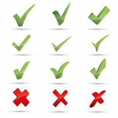 3D Set of check marks. Green tick, red cross. YES or NO accept and decline symbol. Buttons for vote, election choice. Empty, square frame, circle and brush. Check mark OK and X icon. - Stock Photo or Stock Video of rcfotostock | RC-Photo-Stock