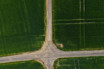 4 ways Traffic Junction in a agriculture field : Stock Photo or Stock Video Download rcfotostock photos, images and assets rcfotostock | RC-Photo-Stock.: