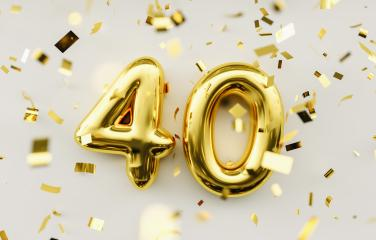 40 years old. Gold balloons number 40th anniversary, happy birthday congratulations- Stock Photo or Stock Video of rcfotostock | RC-Photo-Stock