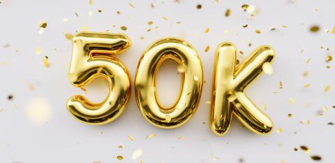 50k followers celebration. Social media achievement poster. 50k followers thank you lettering. Golden sparkling confetti ribbons. Gratitude text on white background. : Stock Photo or Stock Video Download rcfotostock photos, images and assets rcfotostock | RC-Photo-Stock.: