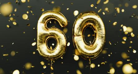 60 years old. Gold balloons number 60th anniversary, happy birthday congratulations, with falling confetti- Stock Photo or Stock Video of rcfotostock | RC-Photo-Stock