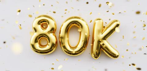 80k followers celebration. Social media achievement poster. 80k followers thank you lettering. Golden sparkling confetti ribbons. Gratitude text on white background.- Stock Photo or Stock Video of rcfotostock | RC-Photo-Stock