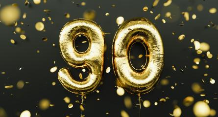 90 years old. Gold balloons number 90th anniversary, happy birthday congratulations, with falling confetti- Stock Photo or Stock Video of rcfotostock | RC-Photo-Stock