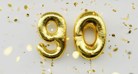 90 years old. Gold balloons number 90th anniversary, happy birthday congratulations, with falling confetti on white background- Stock Photo or Stock Video of rcfotostock | RC-Photo-Stock