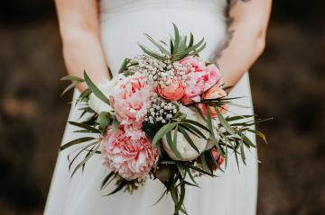 A bride with white dress is holing a wedding bouquet of pink and green flowers. Close up. Wedding day. : Stock Photo or Stock Video Download rcfotostock photos, images and assets rcfotostock   RC-Photo-Stock.: