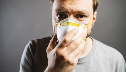 A civilian wearing an anti virus protection mask to prevent others from corona COVID-19 and SARS cov 2 infection- Stock Photo or Stock Video of rcfotostock | RC-Photo-Stock
