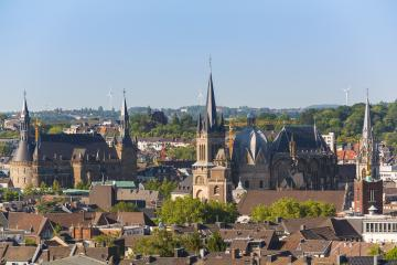 aachen cathedral (Aachener Dom) with town hall- Stock Photo or Stock Video of rcfotostock | RC-Photo-Stock