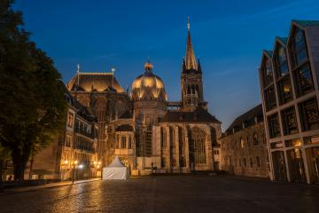 Aachen Cathedral at blue hour- Stock Photo or Stock Video of rcfotostock | RC-Photo-Stock