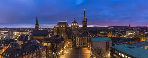 Aachen Cathedral at night panorama : Stock Photo or Stock Video Download rcfotostock photos, images and assets rcfotostock | RC-Photo-Stock.: