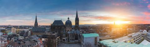 Aachen Cathedral at sunset panorama : Stock Photo or Stock Video Download rcfotostock photos, images and assets rcfotostock | RC-Photo-Stock.:
