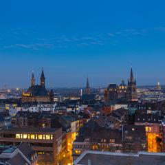 aachen cathedral (Dom) and town hall at dusk : Stock Photo or Stock Video Download rcfotostock photos, images and assets rcfotostock | RC-Photo-Stock.: