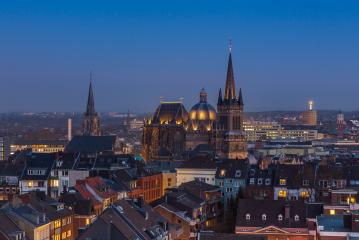 aachen cathedral (Dom) at dusk : Stock Photo or Stock Video Download rcfotostock photos, images and assets rcfotostock | RC-Photo-Stock.: