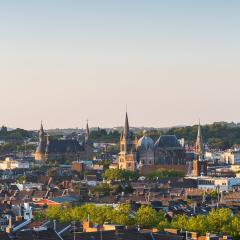 Aachen cathedral (Dom) with townhall at sunset- Stock Photo or Stock Video of rcfotostock | RC-Photo-Stock