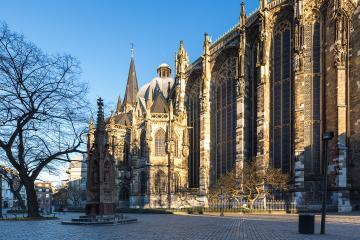 aachen cathedral with minster place in spirng : Stock Photo or Stock Video Download rcfotostock photos, images and assets rcfotostock | RC-Photo-Stock.: