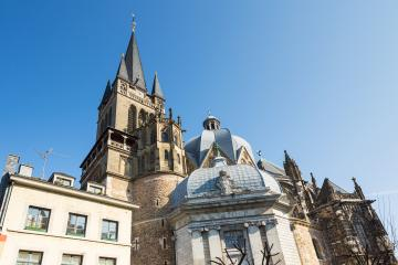 Aachen Cathedral with Westwerk tower (UNESCO world heritage sites)- Stock Photo or Stock Video of rcfotostock | RC-Photo-Stock