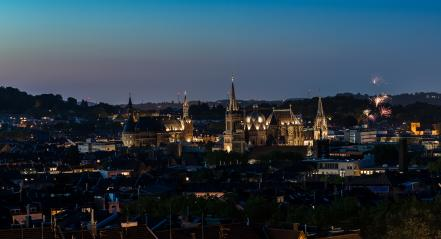 Aachen city at night with fireworks- Stock Photo or Stock Video of rcfotostock | RC-Photo-Stock
