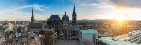 Aachen city panorama with Cathedral (Dom) at sunset : Stock Photo or Stock Video Download rcfotostock photos, images and assets rcfotostock | RC-Photo-Stock.: