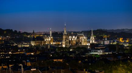 Aachen city skyline at night : Stock Photo or Stock Video Download rcfotostock photos, images and assets rcfotostock | RC-Photo-Stock.: