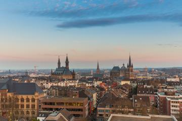 Aachen city skyline at sunset- Stock Photo or Stock Video of rcfotostock | RC-Photo-Stock