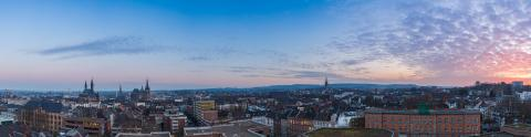 Aachen city skyline panorama at sunset- Stock Photo or Stock Video of rcfotostock | RC-Photo-Stock