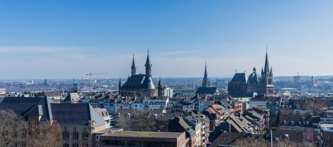 Aachen city with cathedral and town hall in spring- Stock Photo or Stock Video of rcfotostock | RC-Photo-Stock