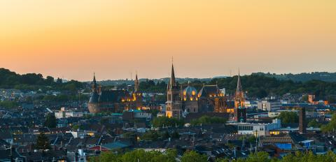Aachen city with town hall and cathedral at sunset- Stock Photo or Stock Video of rcfotostock | RC-Photo-Stock